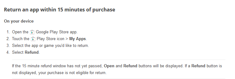 Google implements instant refunds for Apps Purchase from the Play Store