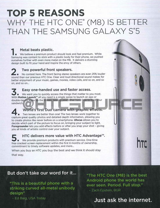 5 Reasons why HTC thinks the One M8 is way better than the Samsung Galaxy S5
