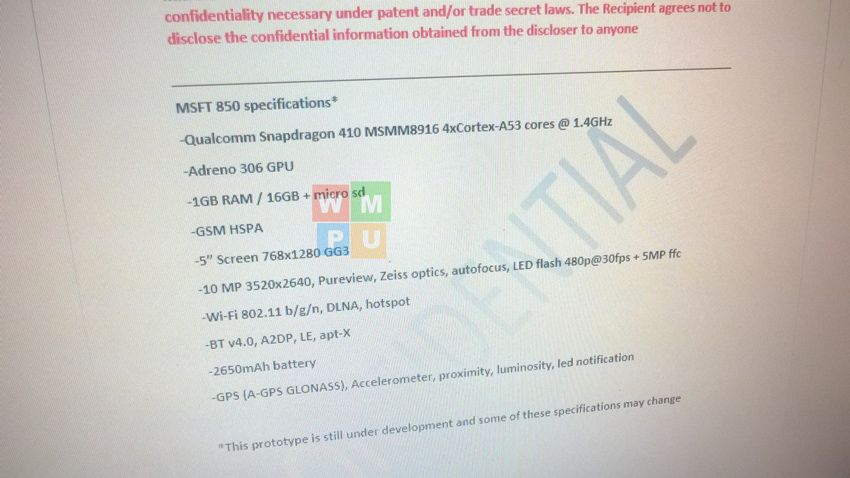 [image] Microsoft Lumia 850 Specifications